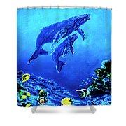 Humpback Whales Hawaii An Reef #14 Shower Curtain