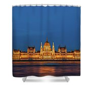 Hungarian Parliament Building At Night In Budapest Shower Curtain