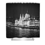 Hungarian Parliament Night Bw Shower Curtain