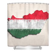 Hungary Map Art With Flag Design Shower Curtain