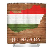 Hungary Rustic Map On Wood Shower Curtain