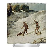 Hunters In The Snow Or The Poachers Shower Curtain by Gustave Courbet