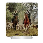 Hunting Dogs For Wild Boar Shower Curtain