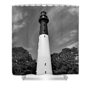 Hunting Island Lighthouse Beaufort Sc Black And White Shower Curtain