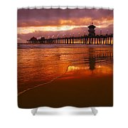 Huntington Beach At Sunset Shower Curtain