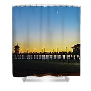 Huntington Beach High Surf At Night Shower Curtain