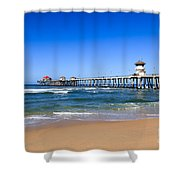 Huntington Beach Pier In Orange County California Shower Curtain