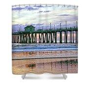 Huntington Beach Pier Panorama Colo Shower Curtain