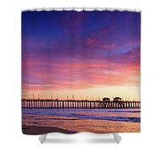 Huntington Beach Pier Sunset  Shower Curtain