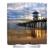 Huntington Beach Pier Sunset Shower Curtain