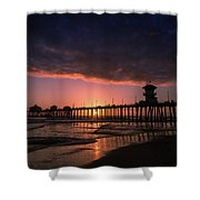 Huntington Pier At Sunset Shower Curtain