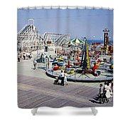 Hunts Pier On The Wildwood New Jersey Boardwalk, Copyright Aladdin Color Inc. Shower Curtain