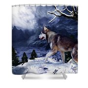 Husky - Mountain Spirit Shower Curtain