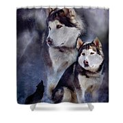 Husky - Night Spirit Shower Curtain