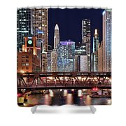 Hustle And Bustle Night Lights In Chicago Shower Curtain