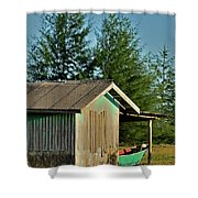 Hut With Green Boat Shower Curtain