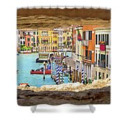 Hvar Bay Aerial View Through Stone Window Shower Curtain