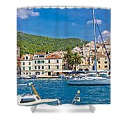 Hvar Yachting Harbor And Historic Architecture Panoramic  Shower Curtain