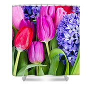 Hyacinth And  Tulip Flowers Shower Curtain