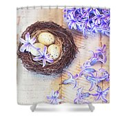 Hyacinth Flowers And Nest Shower Curtain