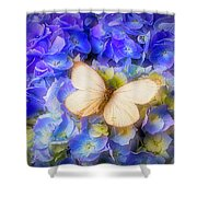 Hydrangea With White Butterfly Shower Curtain