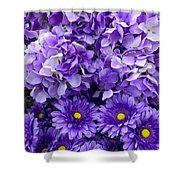 Hydrangeas And Daisies So Purple Shower Curtain