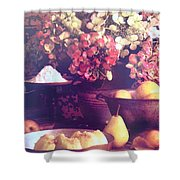 Hydrangeas And Pears Vignette Shower Curtain