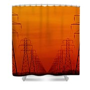 Hydro Power Lines And Towers Shower Curtain