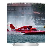 hydroplane racing boat on the Detroit river Shower Curtain