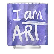 I Am Art Painted Blue And White- By Linda Woods Shower Curtain