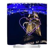 I Heart Boston Ma Christopher Columbus Park Trellis Lit Up For Valentine's Day Shower Curtain
