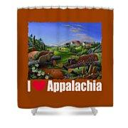 I Love Appalachia T Shirt - Spring Groundhog - Country Farm Landscape Shower Curtain