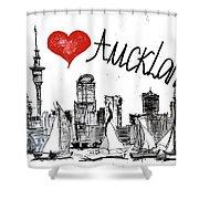 I Love Auckland  Shower Curtain