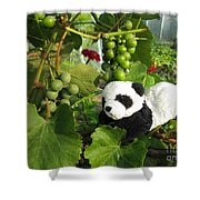 I Love Grapes Says The Panda Shower Curtain
