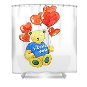 I Love You Bear Shower Curtain