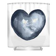 Blue Heart, I Love You Quote Men Women Gift Idea Heart Minimalist Picture Wall Decor Clipart  Shower Curtain