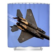 Iaf F15i Fighter Jet On Blue Sky Shower Curtain