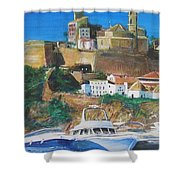 Ibiza Town  Shower Curtain