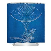 Icarus Airborn Patent Artwork Shower Curtain by Nikki Marie Smith