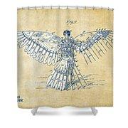 Icarus Human Flight Patent Artwork - Vintage Shower Curtain
