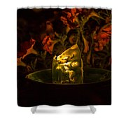 Ice Candle With Petunias Shower Curtain