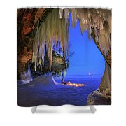 Ice Cave Setting Full Moon Serenity Shower Curtain