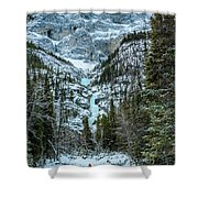 Ice Climbers Approaching Professor Falls Rated Wi4 In Banff Nati Shower Curtain