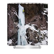 Ice Climbing The Scepter In Hyalite Canyon Shower Curtain