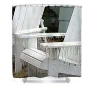 Ice-coated Chairs Shower Curtain