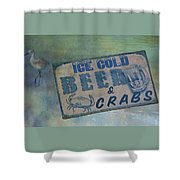 Ice Cold Beer And Crabs - Looks Like Summer At The Shore Shower Curtain