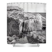 Ice Covered Rocks  Shower Curtain