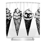 Ice Cream Black ,chanel Shower Curtain