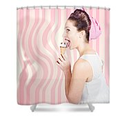 Ice Cream Pin-up Poster Girl Licking Waffle Cone Shower Curtain