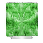 Ice Crystal Angel - Green Shower Curtain